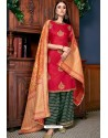 Rose Red Olive Silk Designer Palazzo Suit