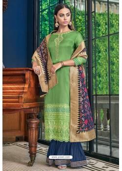 Green Tusser Satin Designer Palazzo Suit