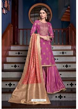 Medium Violet Tusser Satin Designer Palazzo Suit