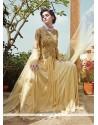 Graceful Cream Zari Work Net Designer Gown