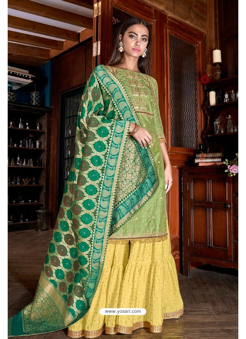 Green And Yellow Jimmy Silk Designer Palazzo Suit