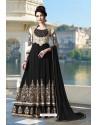 Black Pure Faux Georgette Designer Anarkali Suits