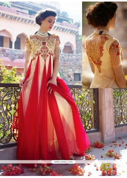 Cream And Red Net Designer Gown