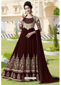 Maroon Pure Faux Georgette Designer Anarkali Suits