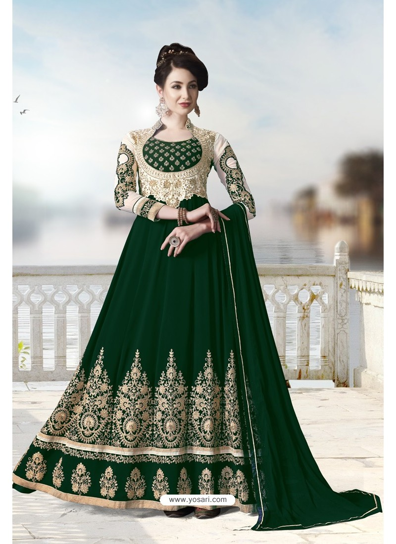 Dark Green Pure Faux Georgette Designer Anarkali Suits
