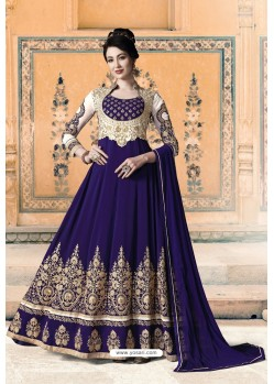 Royal Blue Pure Faux Georgette Designer Anarkali Suits