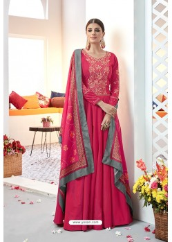 Rose Red Embroidered Satin Floor Length Suit
