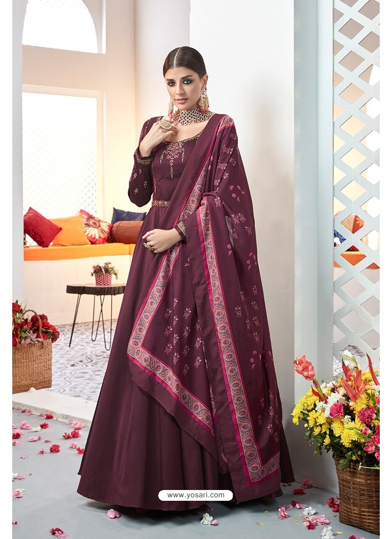 Wine Embroidered Satin Floor Length Suit