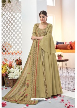 Beige Embroidered Satin Floor Length Suit