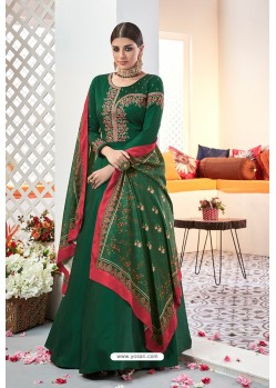 Dark Green Embroidered Satin Floor Length Suit