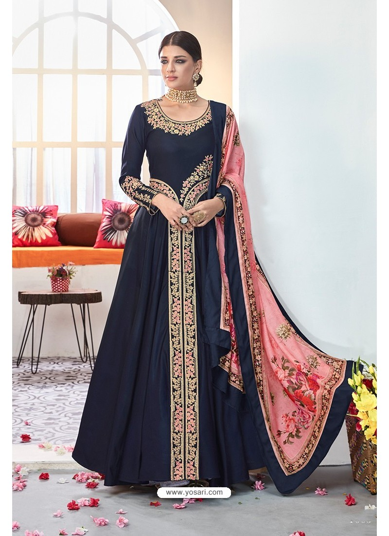 Navy Blue Embroidered Satin Floor Length Suit