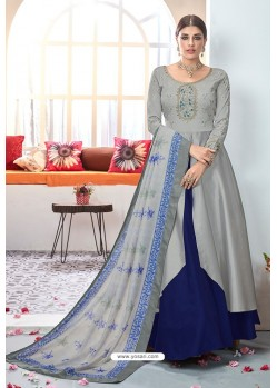 Grey Embroidered Satin Floor Length Suit