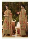 Beige Pure Muslin Silk Digital Printed Straight Suit