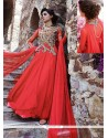 Alluring Red Net Designer Gown