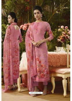 Light Pink Pure Muslin Silk Digital Printed Straight Suit