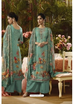 Grayish Green Pure Muslin Silk Digital Printed Straight Suit