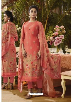 Light Red Pure Muslin Silk Digital Printed Straight Suit