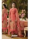 Light Red Pure Muslin Silk Digital Printed Straight Suit