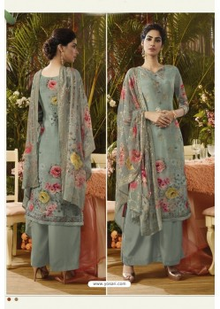 Grey Pure Muslin Silk Digital Printed Straight Suit
