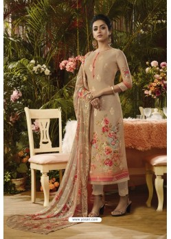 Camel Pure Muslin Silk Digital Printed Straight Suit