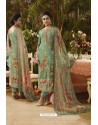 Green Pure Muslin Silk Digital Printed Straight Suit