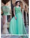 Jaaz Turquoise Blue Net Designer Gown