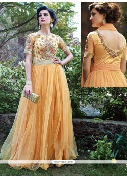 Peach Embroidery Work Net Gown