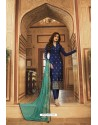 Navy Blue Jacquard Zari Embroidered Straight Suit