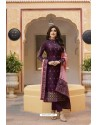 Deep Wine Jacquard Zari Embroidered Straight Suit