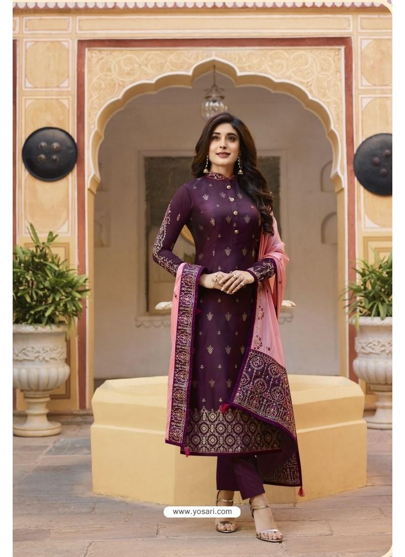 Deep Wine Jacquard Zari Embroidered Straight Suit