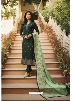 Dark Green Jacquard Zari Embroidered Straight Suit