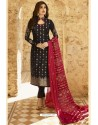 Black Jacquard Zari Embroidered Straight Suit