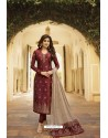 Maroon Jacquard Zari Embroidered Straight Suit