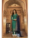 Teal Jacquard Zari Embroidered Straight Suit