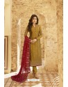 Mustard Jacquard Zari Embroidered Straight Suit