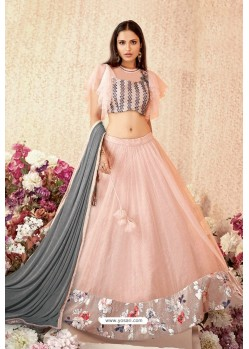 Baby Pink Net Party Wear Designer Lehenga Choli
