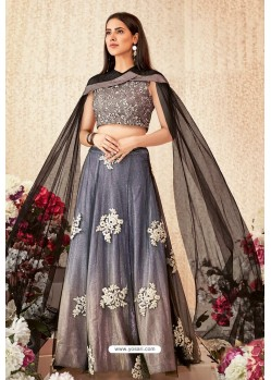 Taupe And Pigeon Net Shimmer Lycra Party Wear Designer Lehenga Choli
