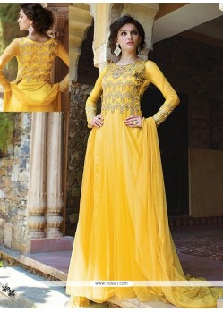 Amazing Yellow Net Designer Gown