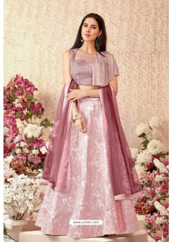 Pink Jacquard Silk Party Wear Designer Lehenga Choli