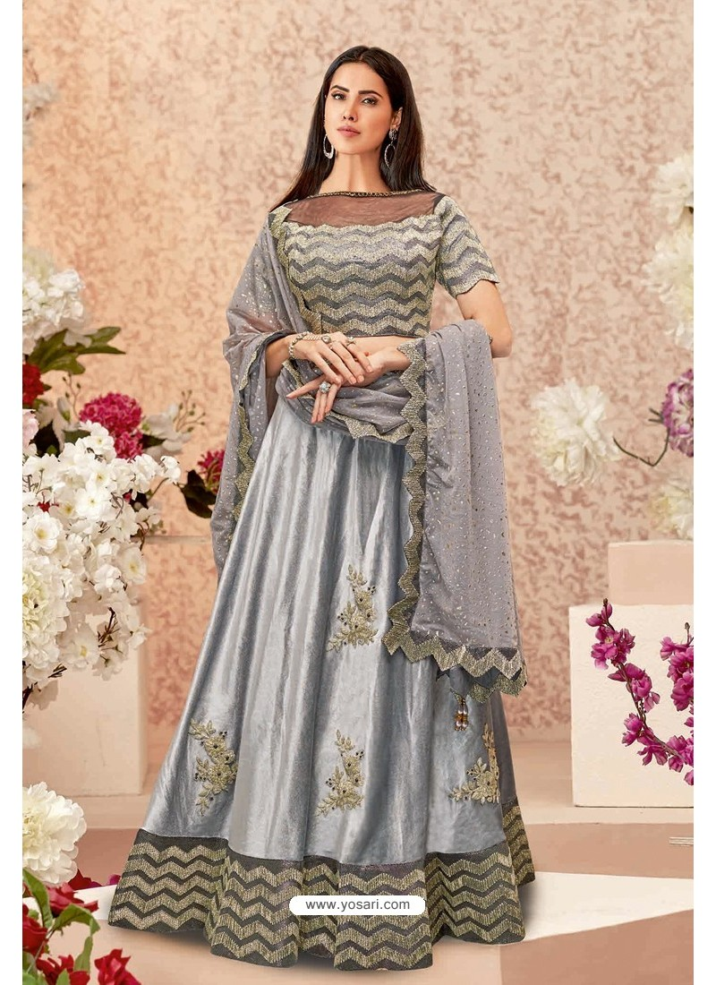 Grey Velvet Party Wear Designer Lehenga Choli