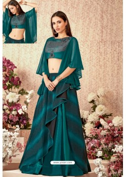 Teal Fancy Lycra Party Wear Designer Lehenga Choli