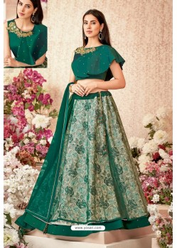 Dark Green Jacquard Silk Net Party Wear Designer Lehenga Choli