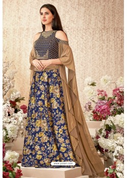 Navy And Gold Jacquard Velvet Party Wear Designer Lehenga Choli