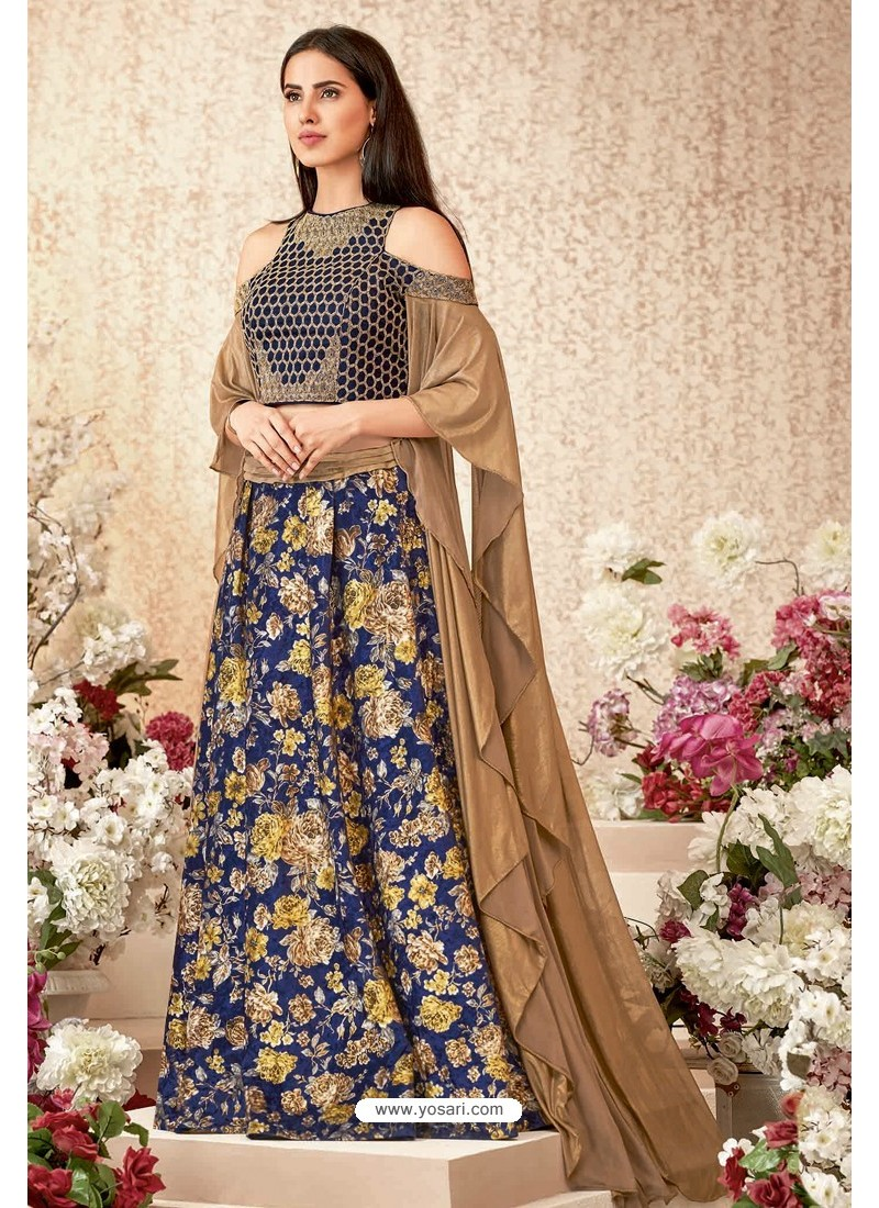 Navy And Gold Jacquard Velvet Party Wear Designer Lehenga Choli