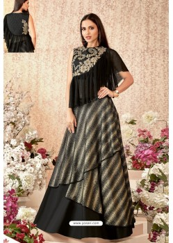 Black And Gold Taffeta Silk Party Wear Designer Lehenga Choli