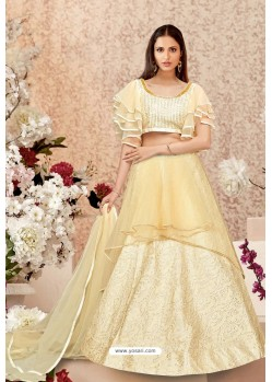 Cream Jacquard Silk Party Wear Designer Lehenga Choli