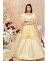 Cream Jacquard Silk Party Wear Designer Lehenga Choli