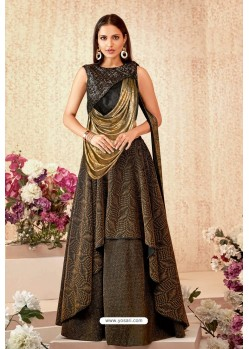 Brown And Black Fancy Lycra Party Wear Designer Lehenga Choli