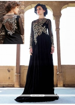 Splendid Black Net Designer Gown