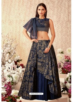 Navy Blue Taffeta Silk Party Wear Designer Lehenga Choli